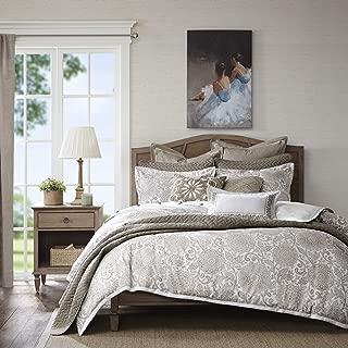 Madison Park Signature Sophia King Size Bed Comforter Duvet 2-In-1 Set Bed In A Bag - Ivory , Jacquard – 9 Piece Bedding Sets – Ultra Soft Microfiber Bedroom Comforters