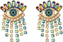 Betsey Johnson - Colorful Evil Eye and Fringe Earrings