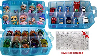 HOME4 BPA Free Blue Stackable Storage Container, Organizer Carrying Display Case Box, 3 Layers 30 Adjustable Compartments Compatible with Small Hot Toys Dolls Lol Beyblade wheels Tool Sewing + Sticker