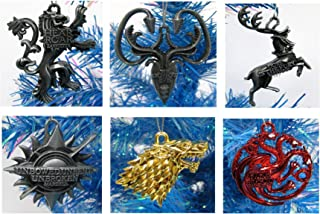 GAME OF THRONES 6 Piece Die Cast Metal Christmas Tree Ornament Set Featuring Various Great Houses - Around 2