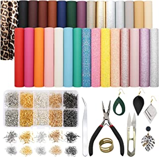 David Angie 31pcs Leather Earring Making Kits with 5 Styles (Litchi, Metallic, Fine & Chunky Glitter and Leopard) Faux Lea...