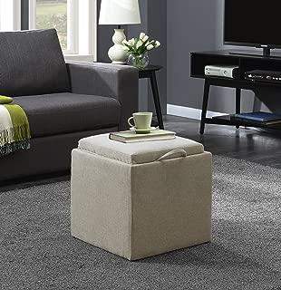 Convenience Concepts Designs4Comfort Ottoman, Soft Beige Fabric