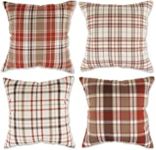 DII Throw Pillow Cover Collection Decorative Square, 18x18, Autumn Plaid 4 Piece