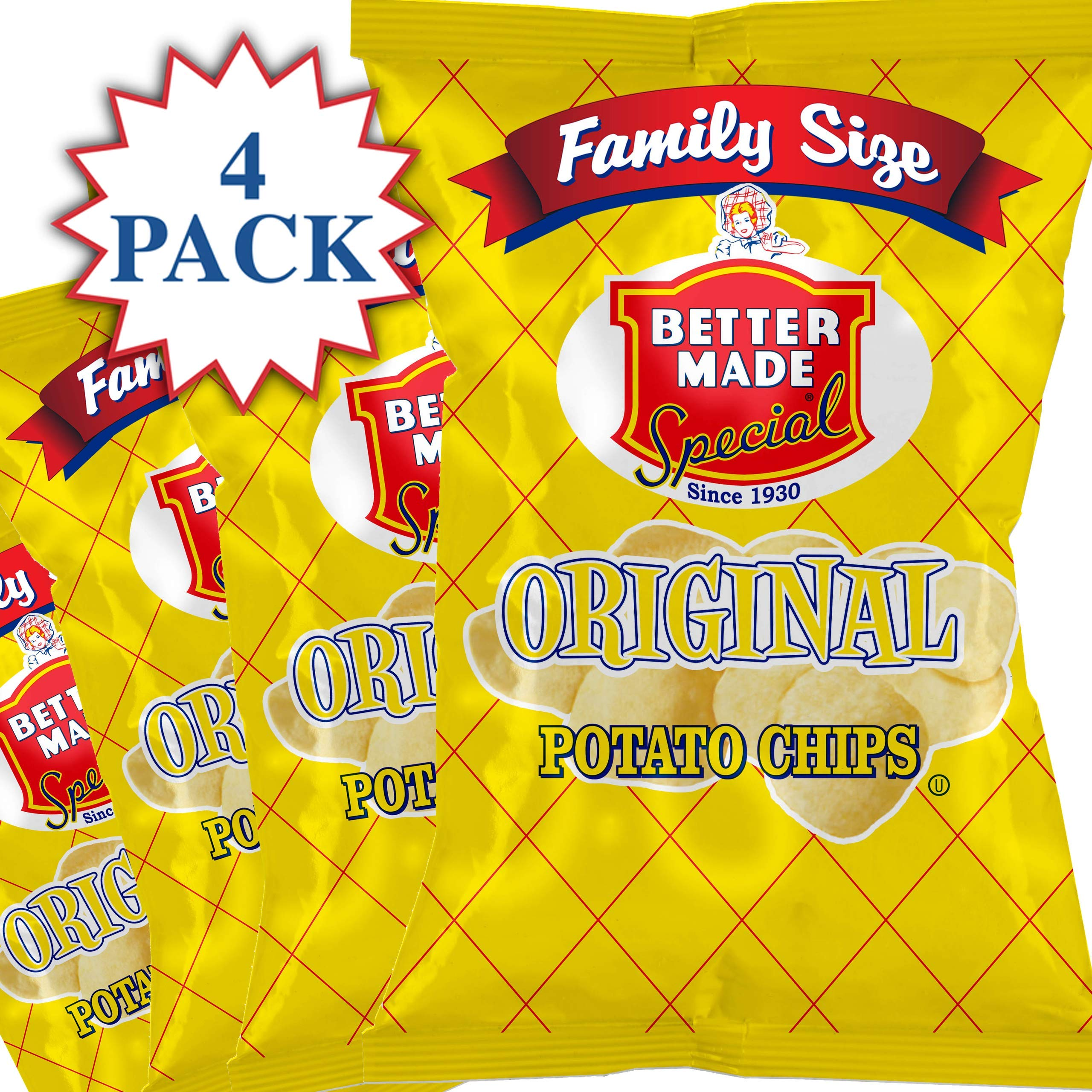 Better Made Special Original Potato Chips Pack (4) x Family Size Bags 9.5oz (Pack of 4)