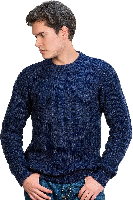 INTI ALPACA Thick Handmade Jumper for Men in Blue Alpaca Wool - Winter Crewneck Pullover - Chunky Knit Sweater