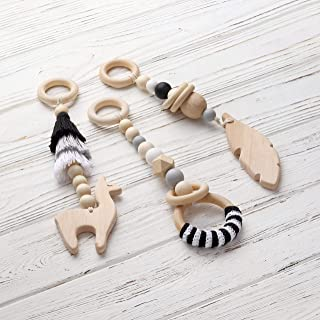 Monochrome baby gym mobiles. Set of 3: llama, feather, ring. Desert