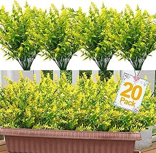 Artificial Fake Flowers, 8 Bundles Outdoor UV Resistant Greenery Shrubs Plants for Indoor Home Wedding Decoration Bulk Tab...