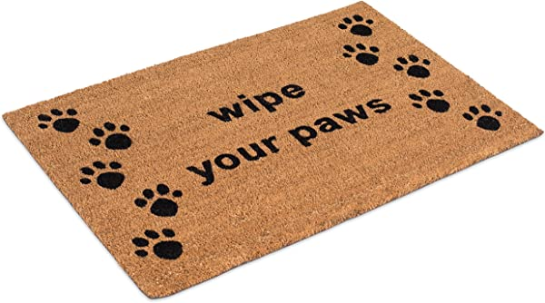 BirdRock Home Wipe Your Paws Coir Doormat 24 X 36 Inch Oversized Welcome Mat With Black Paw Prints And Natural Fade Vinyl Backed Outdoor