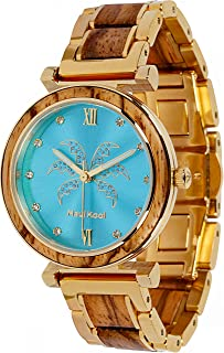Maui Kool Steel and Wood Hybrid Watch Paia Collection for Women Analog Watch Bamboo Gift Box
