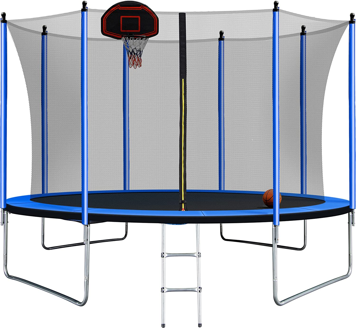 Blue 10FT Trampoline with Basketball and New item Inflator Spring new work Hoop Ladder In