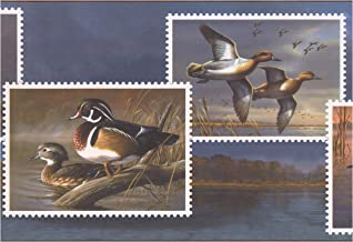 Prepasted Wallpaper Border - Ducks on Postcards Lake Modern Wall Border Retro Design, Roll 15 ft. x 10 in.