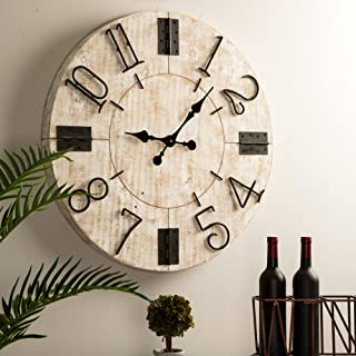 """Glitzhome 28"""" Oversized Silent Non-Ticking Wall Clock Large Round Wooden Farmhouse Battery Operated Clocks Wall Decorative..."""