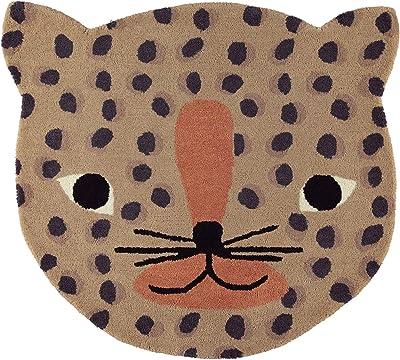 OYOY Mini tapis rond pour chambre d'enfant - Motif tête de léopard - 84 x 94 cm - En un mélange de laine et de coton