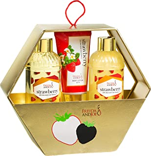 Bath Gift Basket Set For Women: Relaxing At Home Spa Kit Strawberry Holiday Gift Set In Gold Metal Hexagon Gift Box Includes Shower Gel, Bubble Bath, Body Lotion