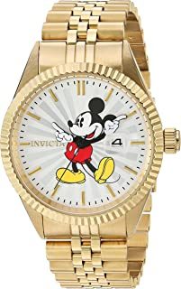 Men's Disney Limited Edition Quartz Watch with Stainless-Steel Strap, Gold, 8 (Model: 22770)