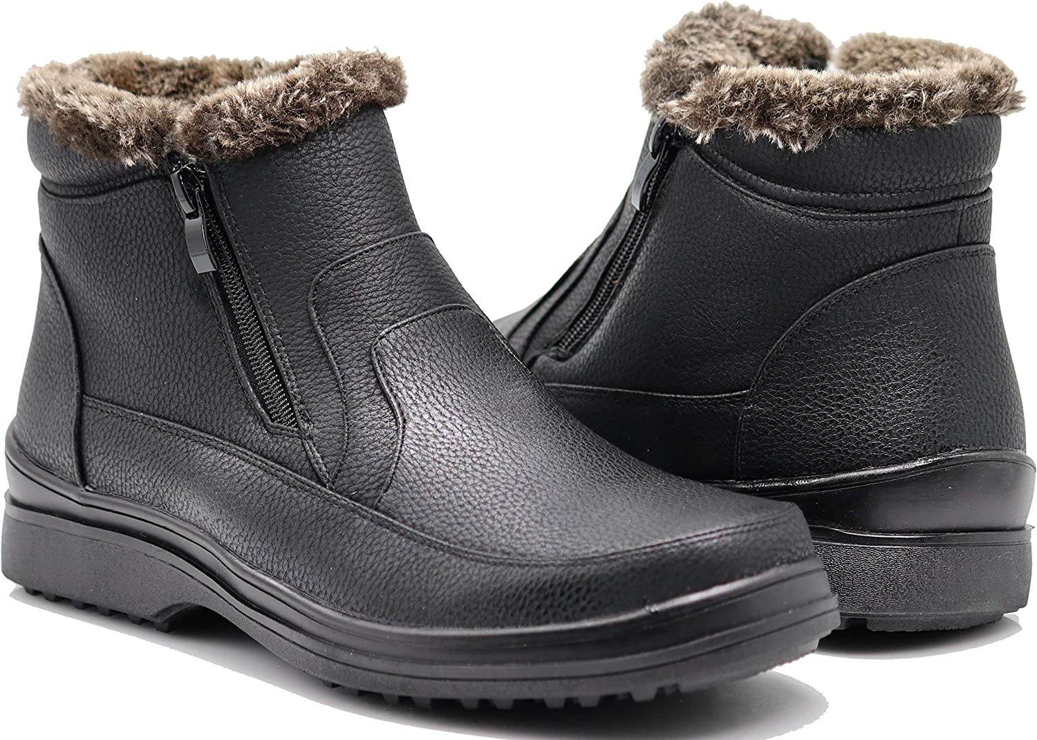 Enzo Romeo RU2N Men's Winter Cold Weather Snow Boots with Fur Fleece Lining Slip On shoes Black