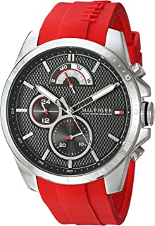 Men's Cool Sport Stainless Steel Quartz Watch with Silicone Strap, Red, 22 (Model: 1791351)