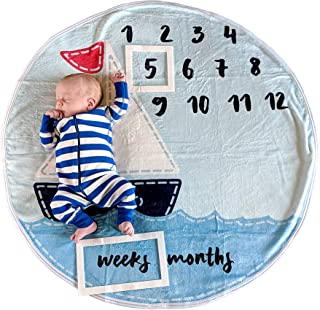 Baby Monthly Milestone Blanket for Boy Girl, Large Personalized Photography Background Blankets, Thick Fleece for Mom Newborn Baby Shower Gifts + Bib + Frame (Sailboat Blanket, 37 inches x 37 inches)