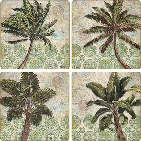 CoasterStone AS10164 Delray Palm Absorbent Coasters Set Of 4 4 1 4 Multicolor