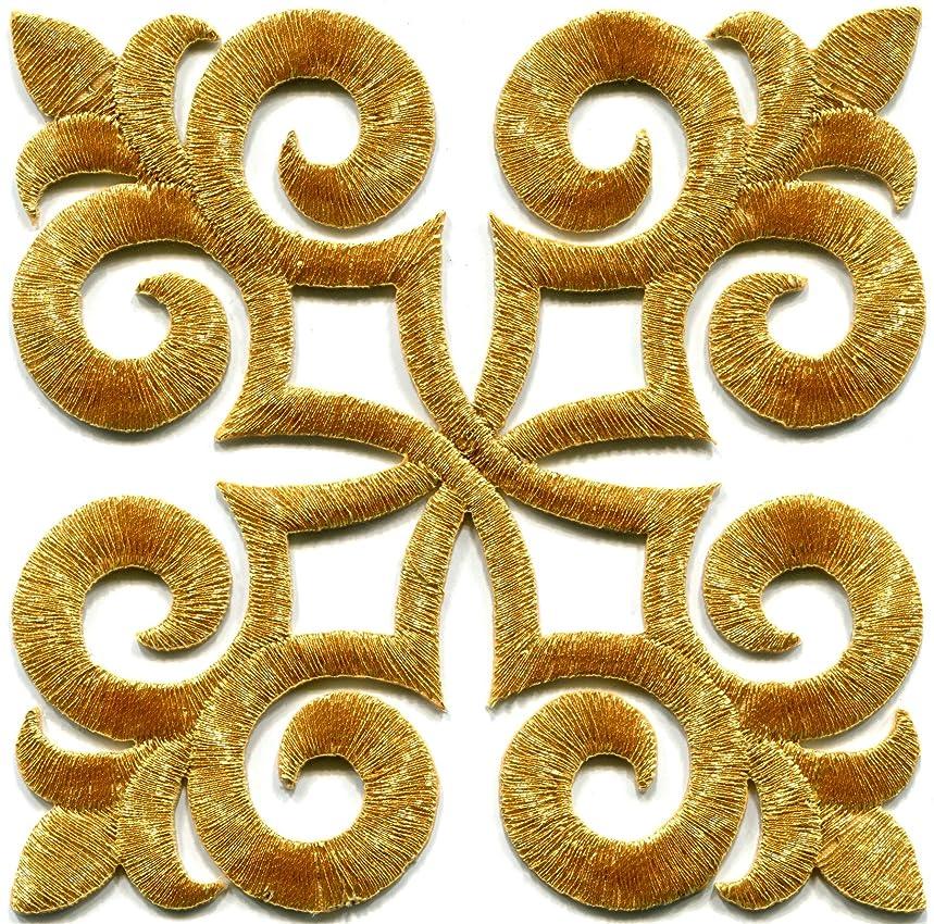 Gold trim fleur de lis fringe boho retro sew sewing embellishment embroidered applique iron-on patch new
