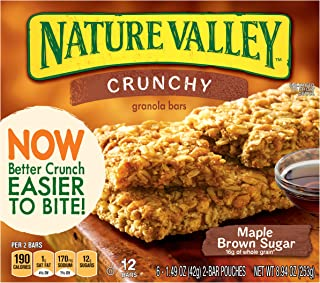 Nature Valley Crunchy Granola Bar Maple Brown Sugar 12 Bars In 6 - 1.49 oz 2-Bar Pouches (pack of 6)