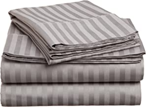 Superior 400 Thread Count 100% Premium Combed Cotton, 4-Piece Bed Sheet and Pillowcase Cover Set, Stripe, Split King - Grey