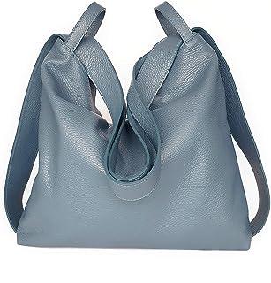 Borsa a Zaino in vera pelle morbida colore jeans Borsa Donna a Spalla trasformabile - Ganza Roma Amante Handmade