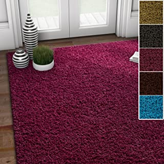 Well Woven Soft Fluffy Non-Skid/Slip Rubber Back Antibacterial Shag Rug 5x7 (5' x 7') Solid Color Print Plum Purple Area Rug Carpet