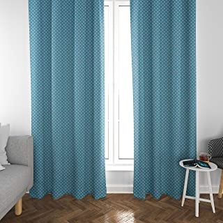 Atlas Home Blue Polka Dot Cotton Duck Curtain Panel Set for Kids Bedroom/Playroom/Living Room, 2 Panels, Farmhouse Curtain...