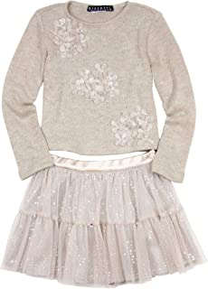 Kate Mack Biscotti Girls' Graceful Glam Sweater and Skirt Set Taupe, Sizes 4-10