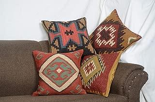 Chouhan Rugs 4 PCS Set of Indian Kilim Cushion Cover 18X18 Pillows Boho Ethnic Shams Jute Pillow Cases Rug Boho Shams