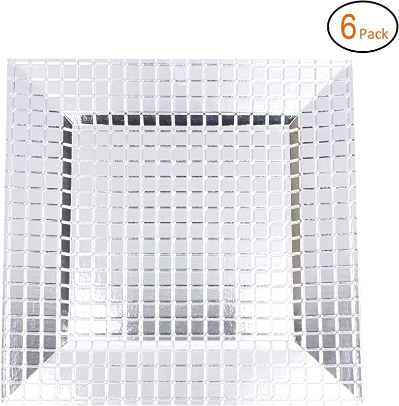 FANTASTIC Square 13 Inch Plastic Charger Plates With Eletroplating Finish 6 Grid Silver