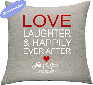 YugTex Cushion Cover Embroidered love, laughter, and happily ever after,christmas gift,personalized Cushion Cover,wedding gift,wedding shower gift,housewarming gift, Rehearsal Dinner Sign,