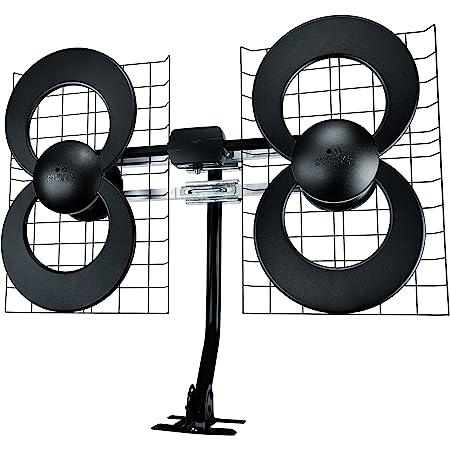 Antennas Direct Clearstream 4 TV Antenna, 70+ Mile Range, UHF, Multi-Directional, Indoor, Attic, Outdoor, Mast W/Pivoting Base/Hardware/Adjustable Clamp/Sealing Pads, 4K Ready, Black – C4-CJM