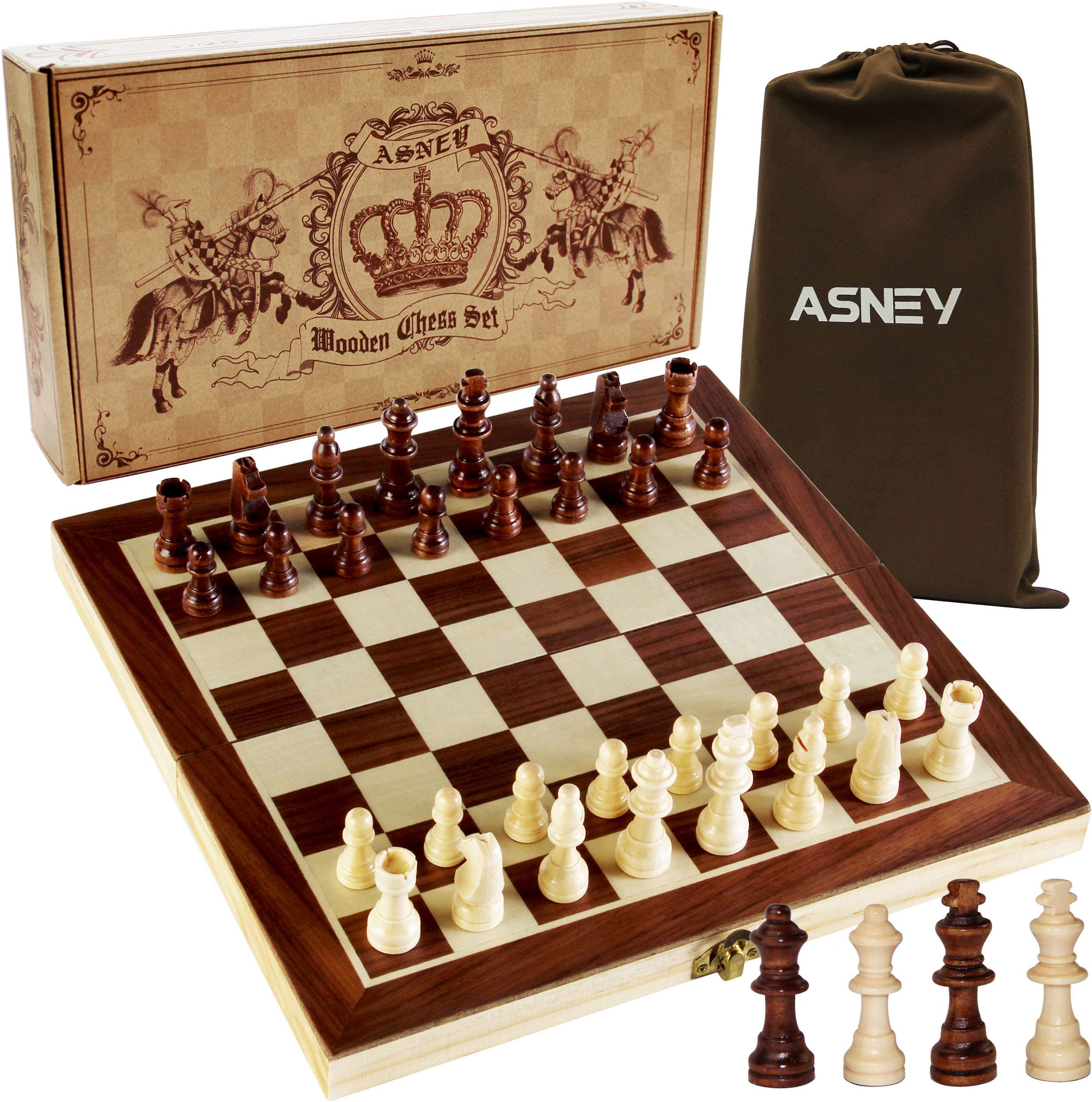 """ASNEY Upgraded Magnetic Chess Set, 12"""" x 12"""" Folding Wooden Chess Set with Magnetic Crafted Chess Pieces, Chess Game Board Set with Storage Slots, Includes Extra Kings, Queens and Carry Bag"""