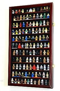 sfDisplay.com,LLC. 120+ Lego Men/Legos/Mini Figures Minifigures/Display Case Cabinet with 98% UV Protection (Cherry Finish)
