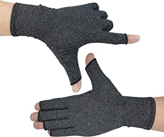 KIM YUAN Arthritis Gloves, Compression Gloves Comfy Fit, Fingerless Design, Breathable & Moisture Wicking Fabric – Alleviate 058 1 pair L Black