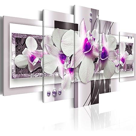 B&D XXL murando Impression sur Toile intissee 100x50 cm 5 Parties Tableau Tableaux Decoration Murale Photo Image Artistique Photographie Graphique Abstrait Fleurs orchidée b-A-0042-b-p