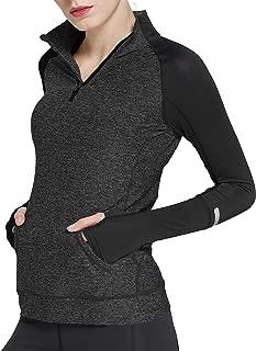 Cityoung Women's Yoga Long Sleeves Half Zip Sweatshirt Girl Athletic Workout Running Jacket