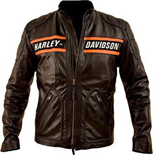L.Outfitters Goldberg WWE Harley Motorcycle Screaming Eagle Black HD Cow Leather Jacket