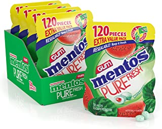 Mentos Pure Fresh Sugar-Free Chewing Gum with Xylitol, Watermelon, 120Piece Bulk Resealable Bag (Pack of 4)