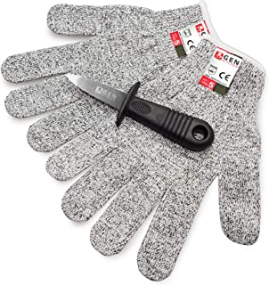 GenKitchen Oyster Shucking Knife & Level 5 Protection Cut Resistant Gloves (XL) Set - 2.4