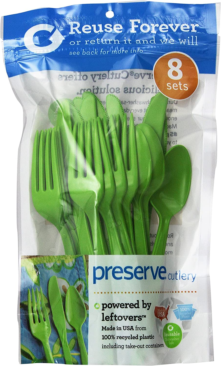 Preserve 24-Piece Cutlery Set, Apple Green, Pack of 12