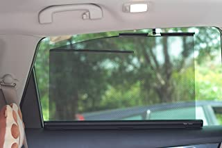 Retractable Side Window Shades Type B (Two Shades, 22 Inches Wide, Fit Rear Side Windows with Curve-lined Tops. Two-years Warranty.)