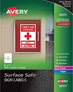 Avery Surface Safe Sign Labels, 5 x 7, Removable Adhesive, Water & Chemical Resistant, Pack of 30 Wall Decals (61511)