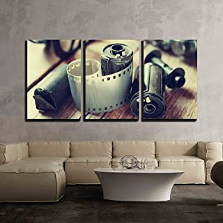 wall26 - 3 Piece Canvas Wall Art - Old Photo Film Rolls, Cassette and Retro Camera. Vintage Stylized. - Modern Home Decor Stretched and Framed Ready to Hang - 16