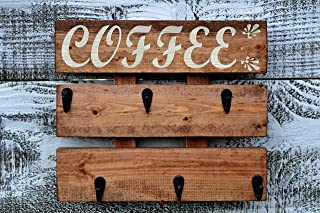 Rustic Pallet Wood Coffee Cup Rack 6 ug Holder Wall Mounted Kitchen Storage Chestnut Stain Cashew Color Letters
