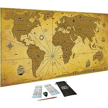 Carte du monde /à gratter XXL 82 x 43 cm jeton et stylo de grattage autocollant 3D par WIDETA Bonus Carte dEurope