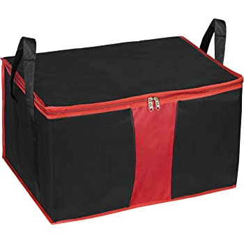 Storite Heavy Duty Nylon Multi-Purpose 110 Litre Large size Under-bed Storage Bag Perfect for Toys/ Stationeries/Blankets/Clothes Storage Bag Moisture Proof with Zip and Handle - (Black/Red,63.5 x 45.7 x 38 cm)