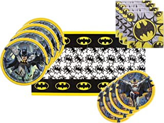 Batman Party Supplies Tableware Bundle for 16 Guests - Includes 16 Dinner Plates, 16 Dessert Plates, 16 Dinner Napkins, and 1 Tablecover